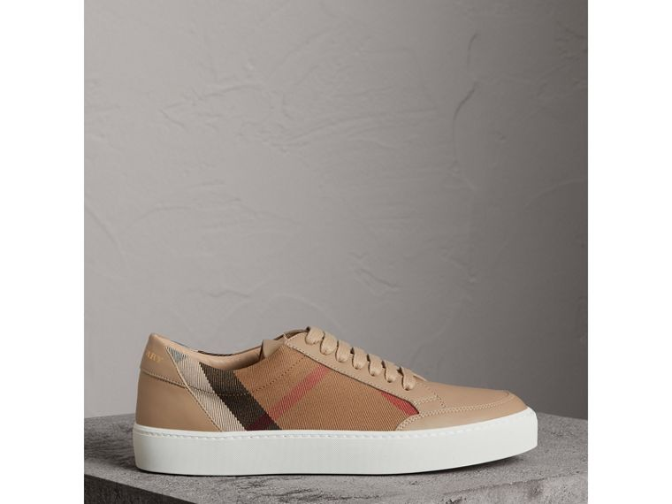 Check Detail Leather Sneakers in House Check/ Nude - Women | Burberry - cell image 4