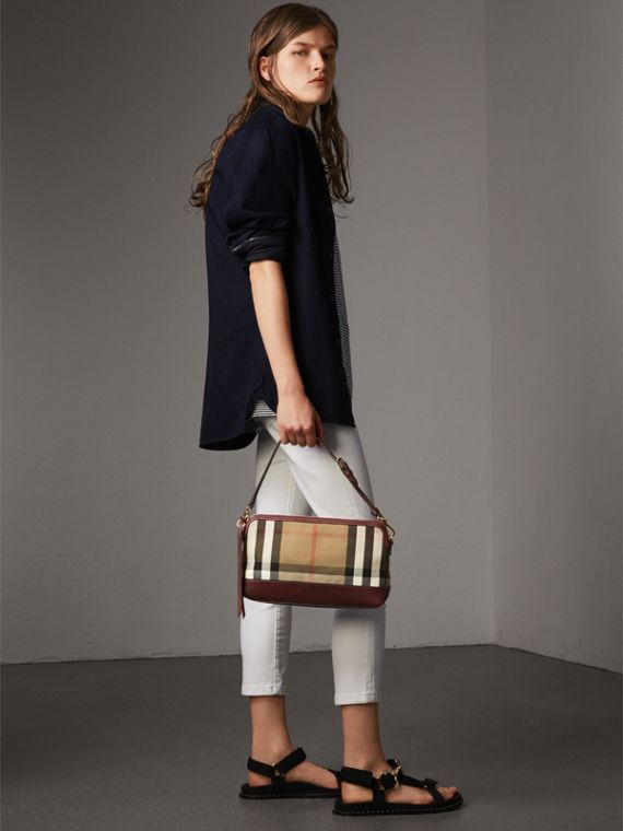 House Check and Leather Clutch Bag in Mahogany Red - Women | Burberry - cell image 2