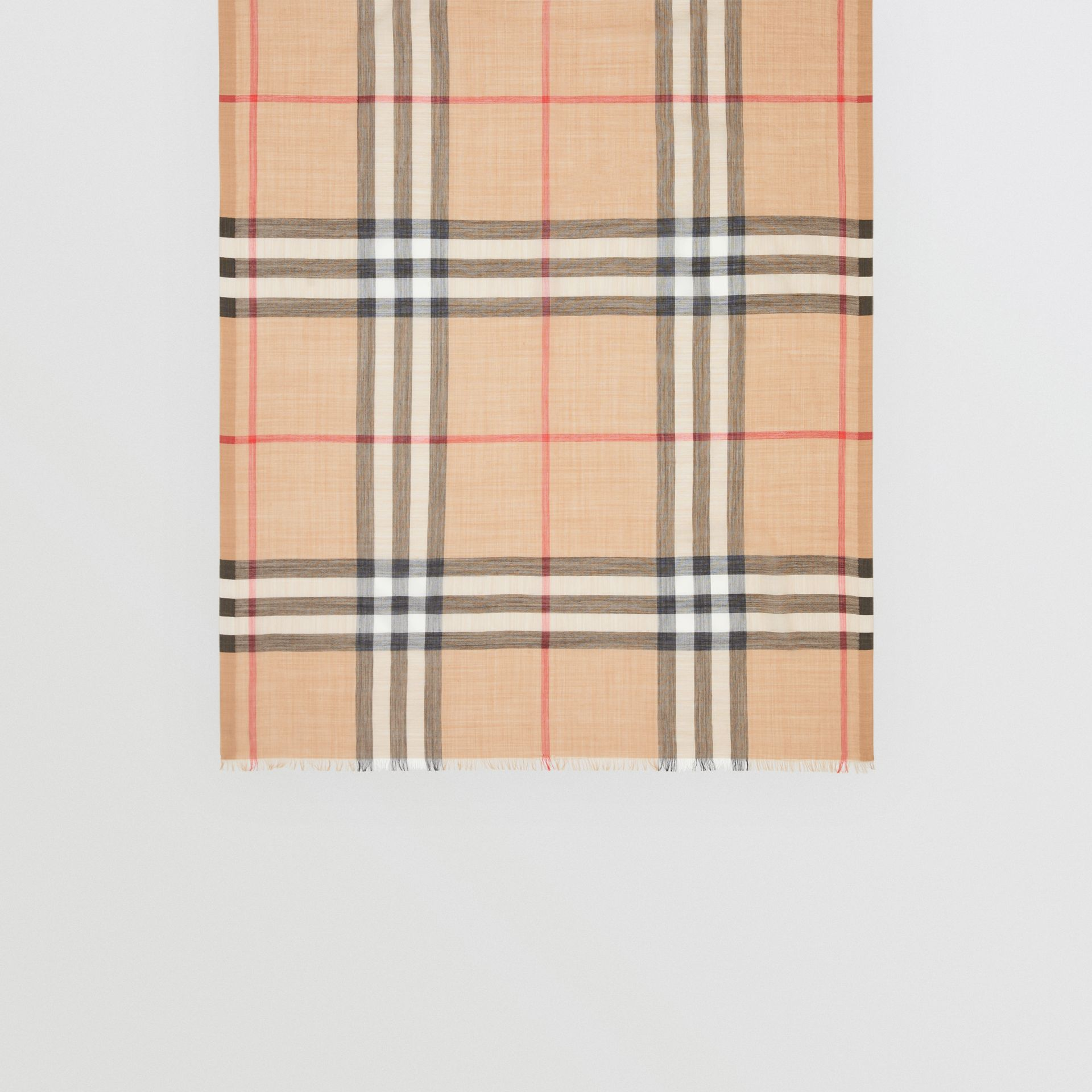 Lightweight Check Wool and Silk Scarf in Camel | Burberry United States - gallery image 3