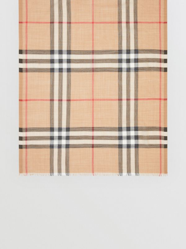 Lightweight Check Wool and Silk Scarf in Camel | Burberry United States - cell image 3