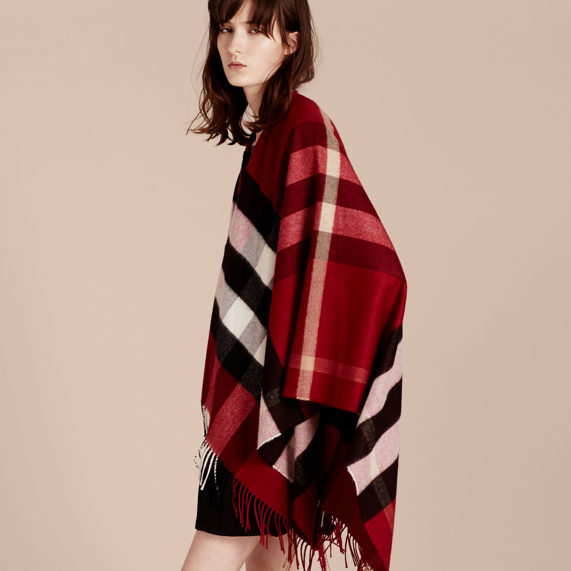 Check Cashmere and Wool Poncho Parade Red - gallery image 3