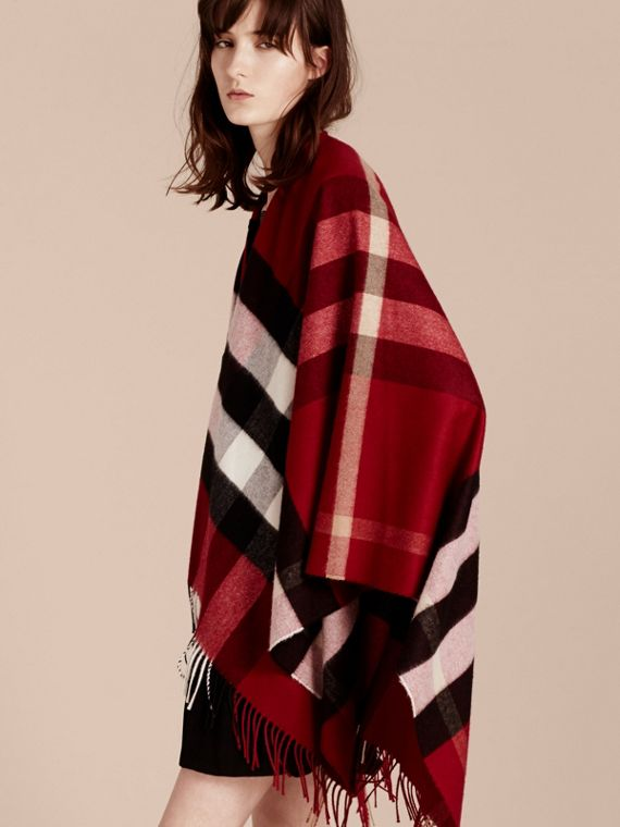 Check Cashmere and Wool Poncho Parade Red - cell image 2