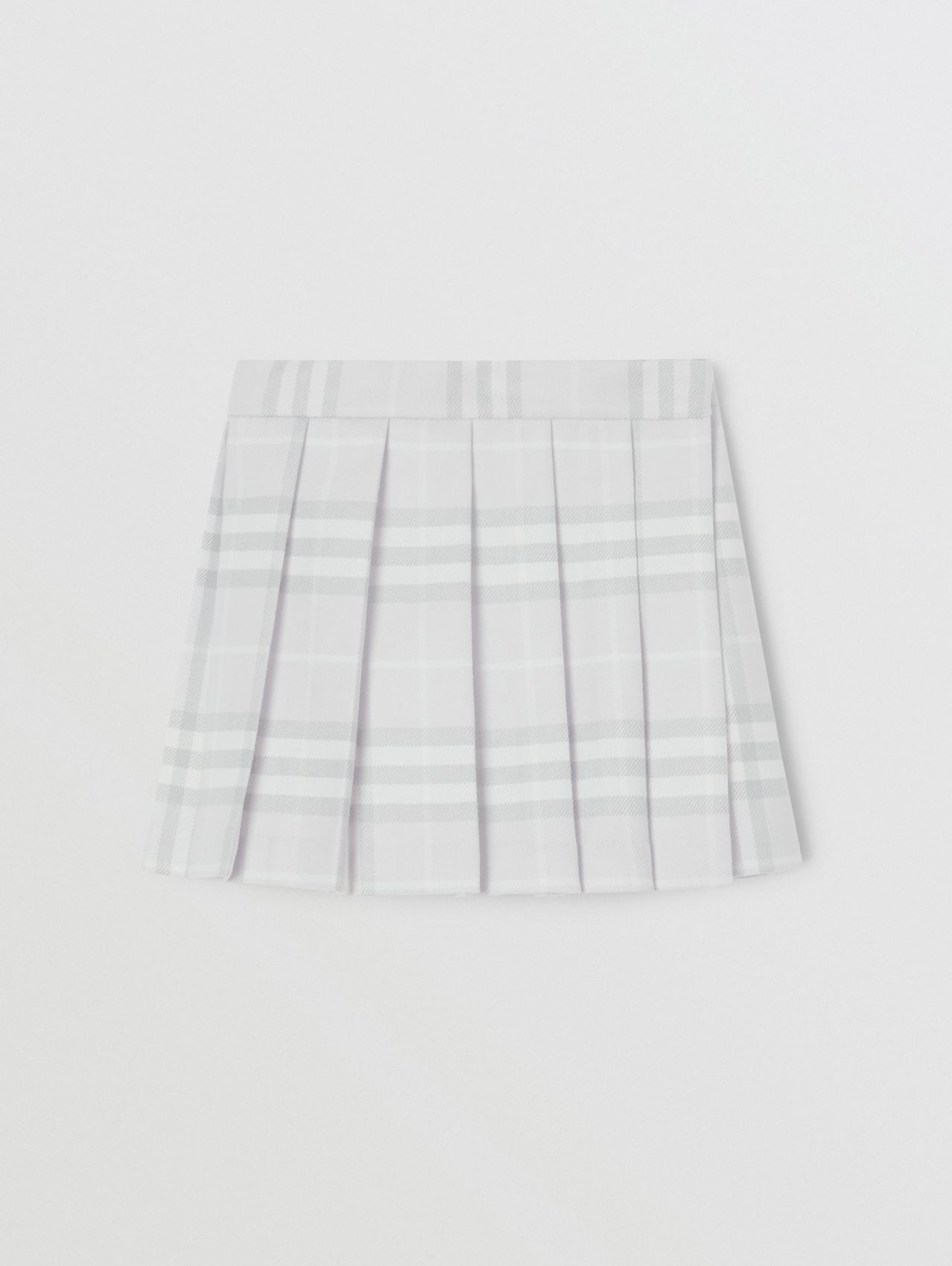 Vintage Check Wool Pleated Wrap Skirt in Pale Grey