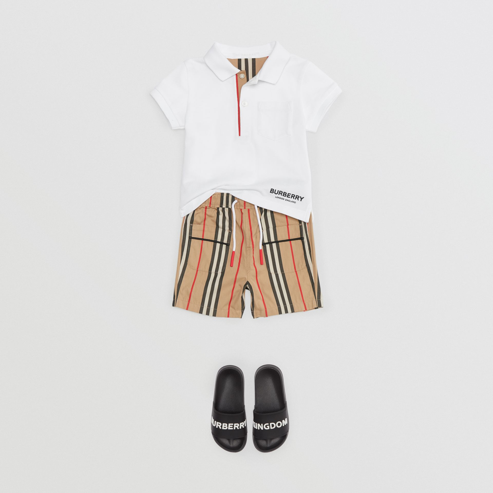 Icon Stripe Placket Cotton Piqué Polo Shirt in White - Children | Burberry United Kingdom - gallery image 2