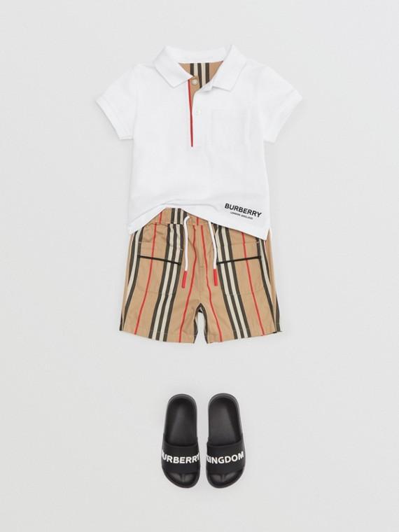 Poloshirt aus Baumwollpiqué mit Streifendetail an der Knopfleiste (Weiss)