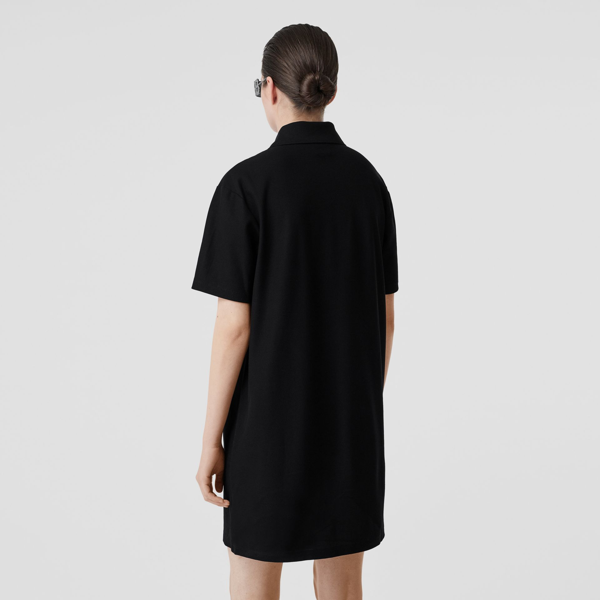 Logo Graphic Cotton Piqué Dress in Black - Women | Burberry United Kingdom - gallery image 2