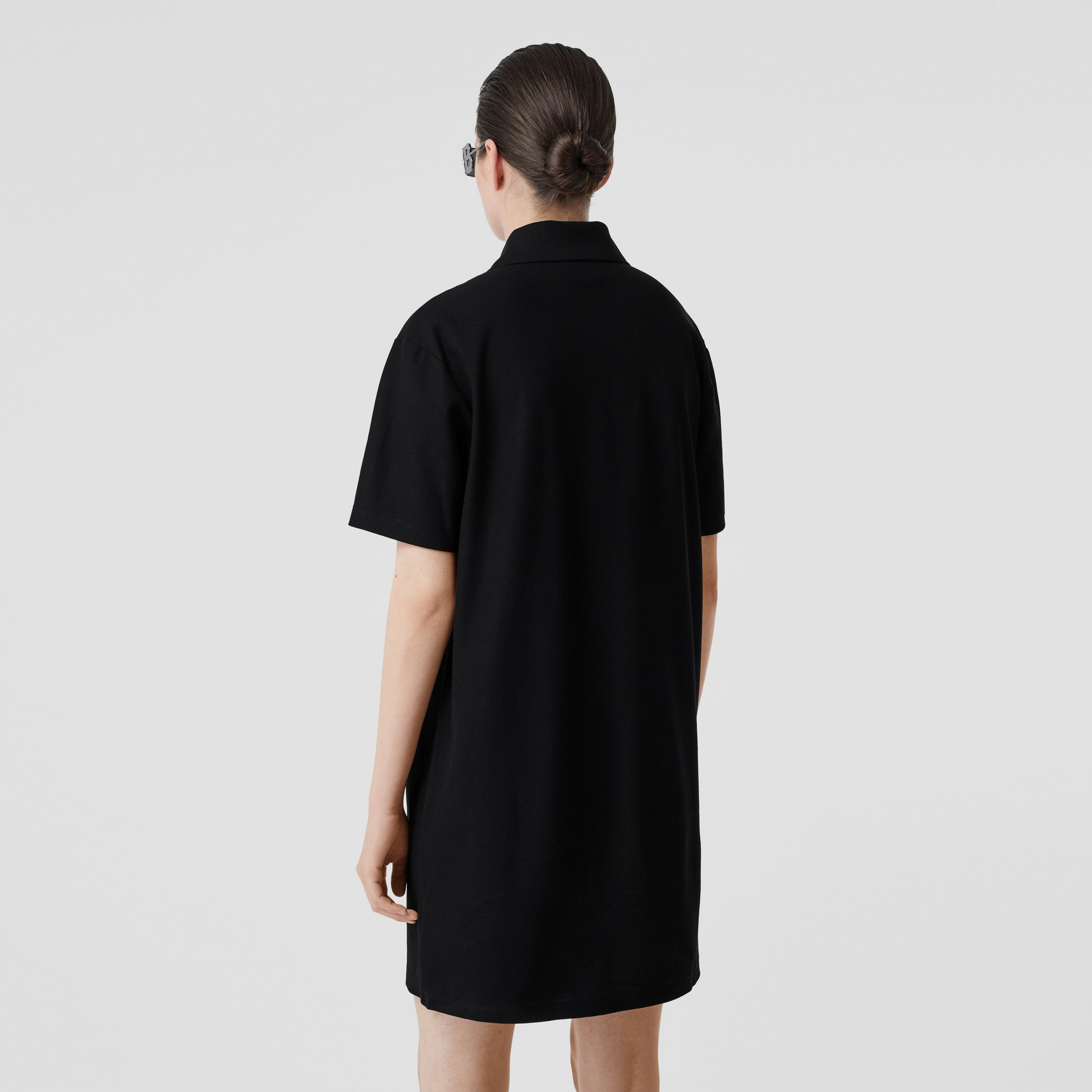 Logo Graphic Cotton Piqué Dress in Black - Women | Burberry - 3