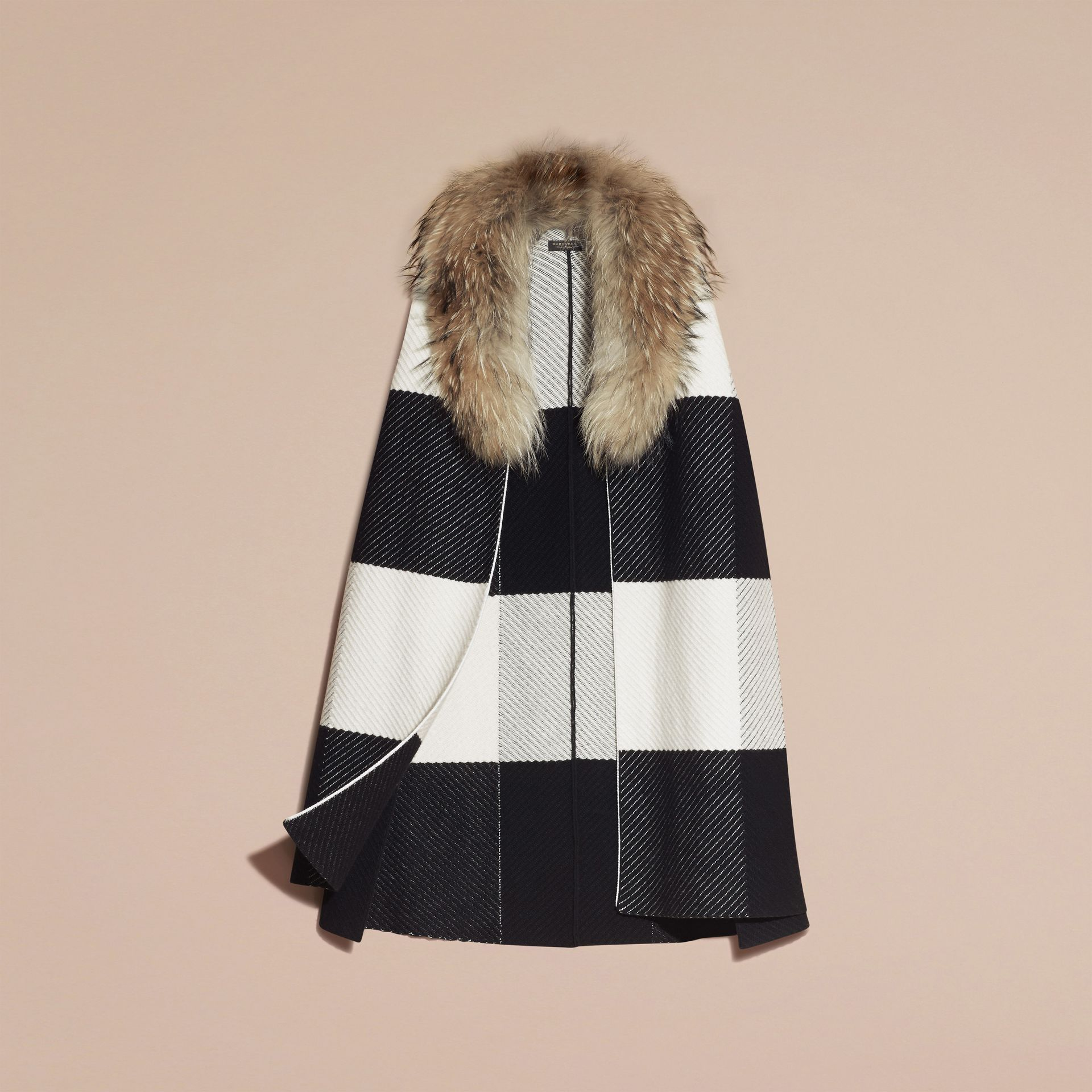 Black/white Check Cashmere Wool Blend Poncho with Raccoon Collar - gallery image 4