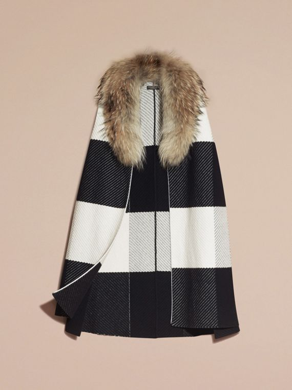 Black/white Check Cashmere Wool Blend Poncho with Raccoon Collar - cell image 3