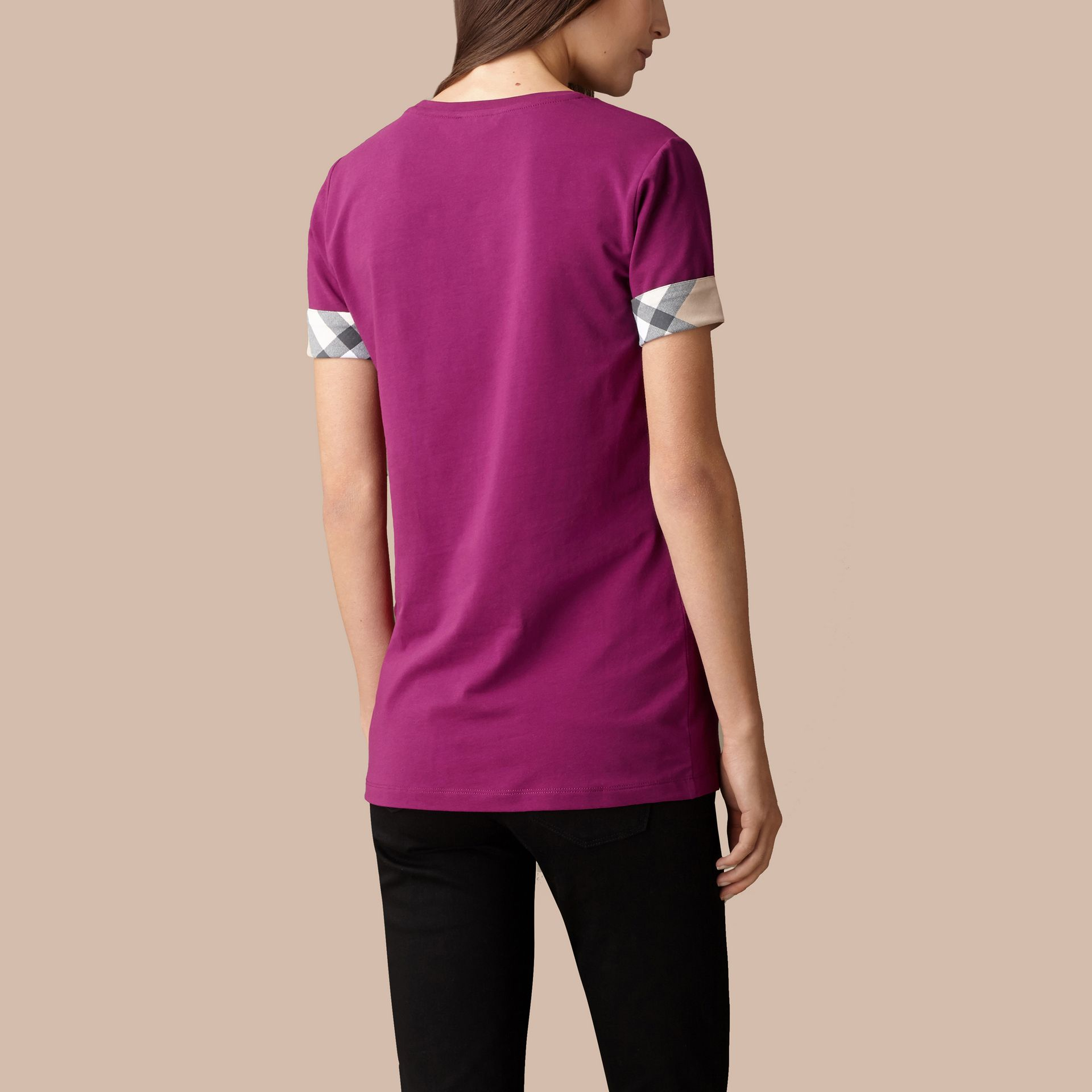 Check Cuff Stretch Cotton T-Shirt in Magenta Pink - gallery image 3