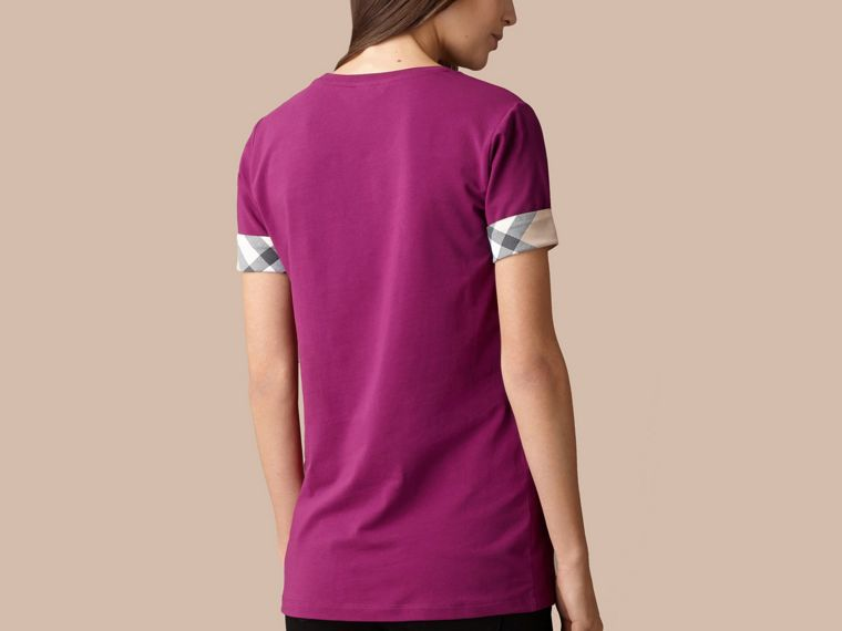 Check Cuff Stretch Cotton T-Shirt in Magenta Pink - Women | Burberry - cell image 2