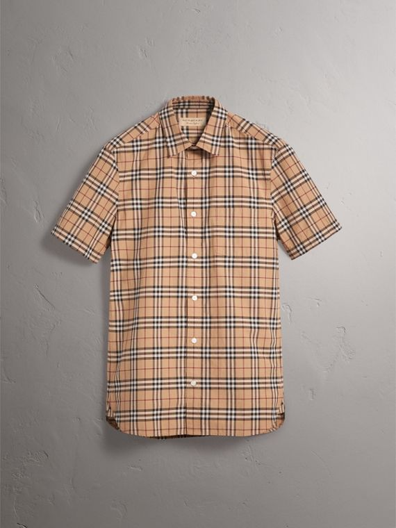 Short-sleeve Check Cotton Shirt in Camel - Men | Burberry United Kingdom - cell image 3