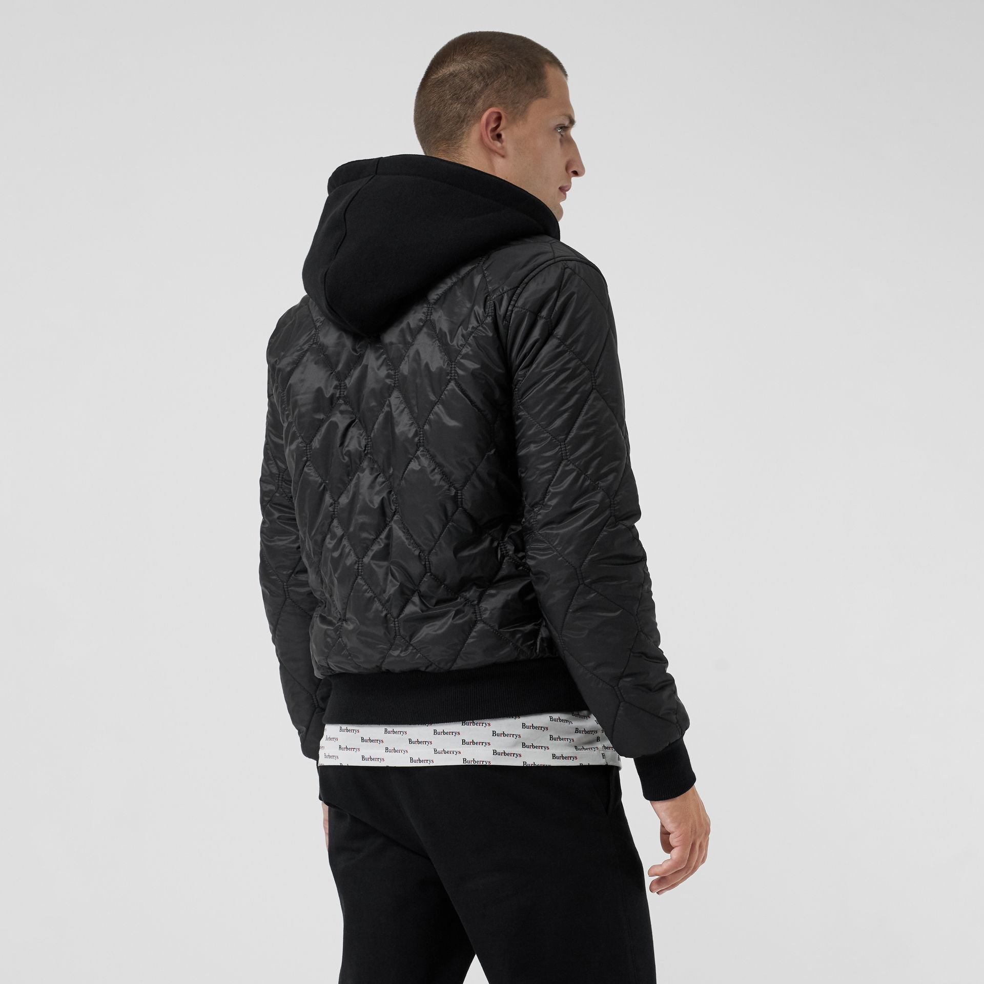 Reversible Diamond Quilted Hooded Jacket in Black - Men | Burberry - gallery image 2