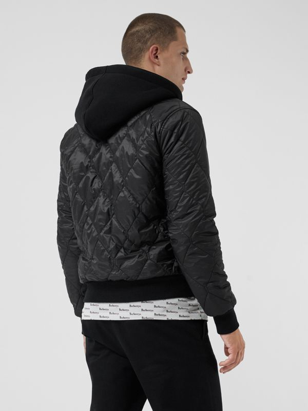 Reversible Diamond Quilted Hooded Jacket in Black - Men | Burberry United Kingdom - cell image 2