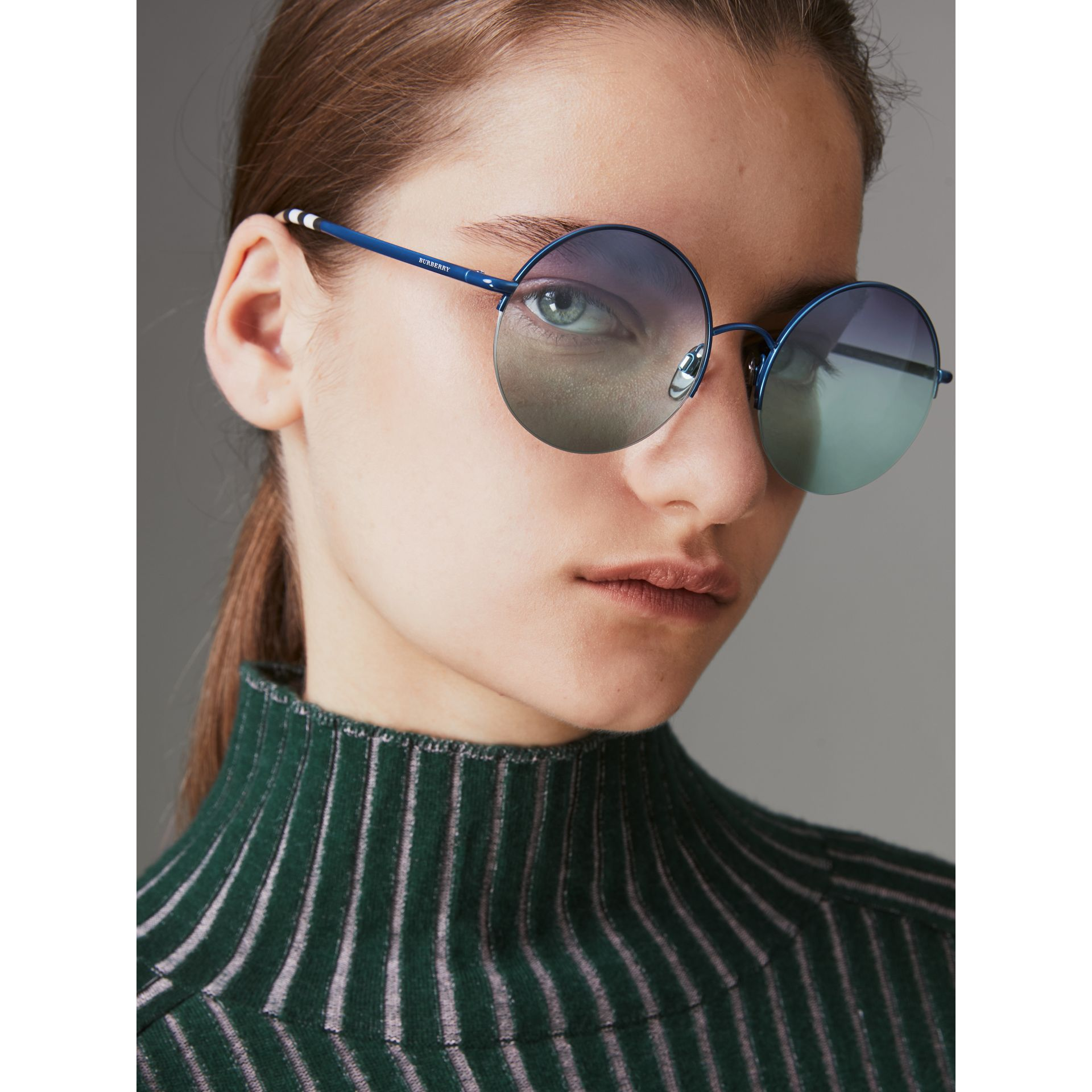 Check Detail Round Frame Sunglasses in Blue - Women | Burberry Canada - gallery image 2