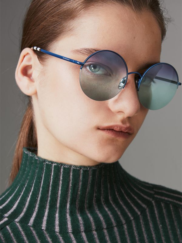 Check Detail Round Frame Sunglasses in Blue - Women | Burberry Canada - cell image 2