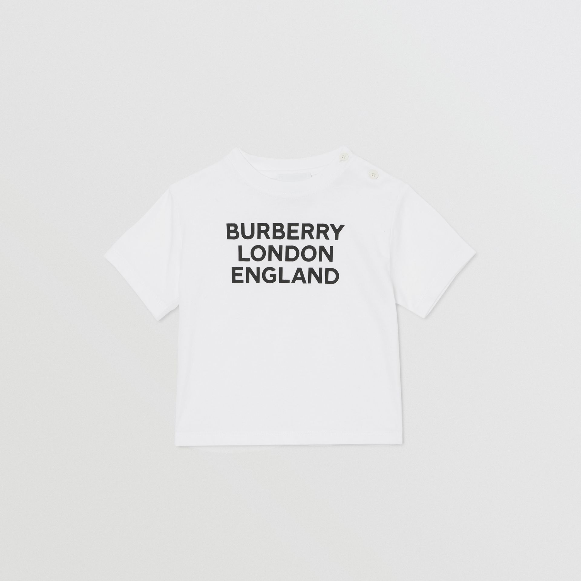 Logo Print Cotton T-shirt in White - Children | Burberry United Kingdom - gallery image 0