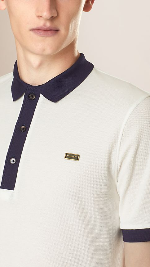 White/navy Mercerised Cotton Polo Shirt - Image 3