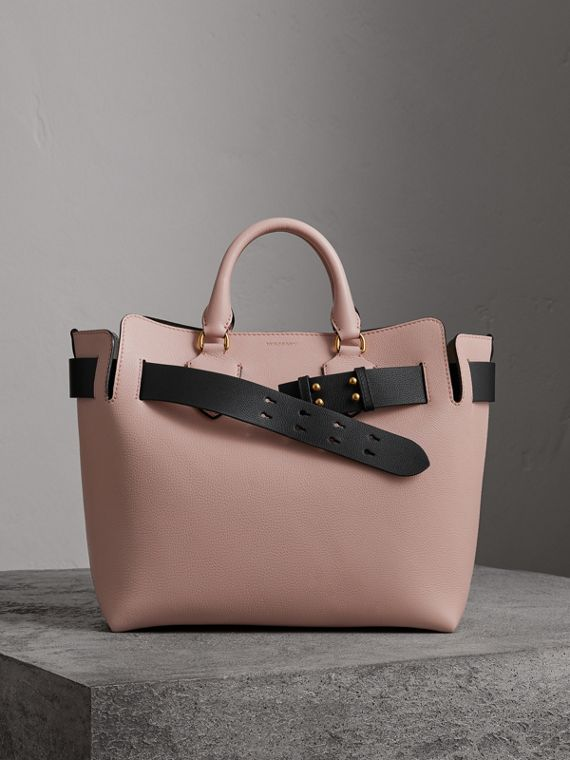 Borsa The Belt media in pelle (Rosa Cenere Pallido)