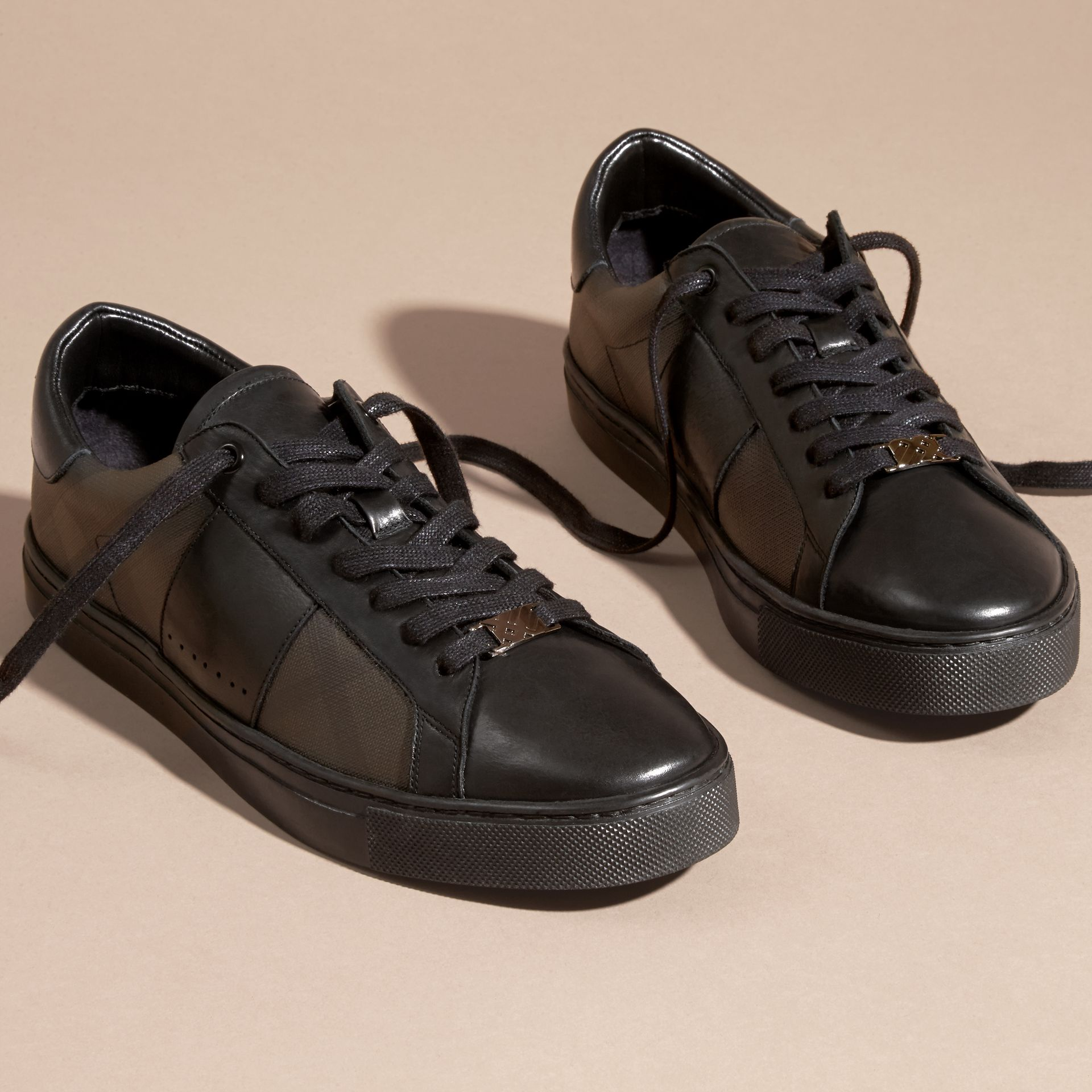 Check Detail Leather Trainers in Smoked Chocolate Chk - Men | Burberry Canada - gallery image 3