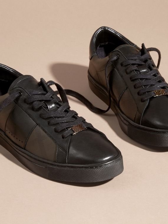 Check Detail Leather Trainers in Smoked Chocolate Chk - Men | Burberry - cell image 2