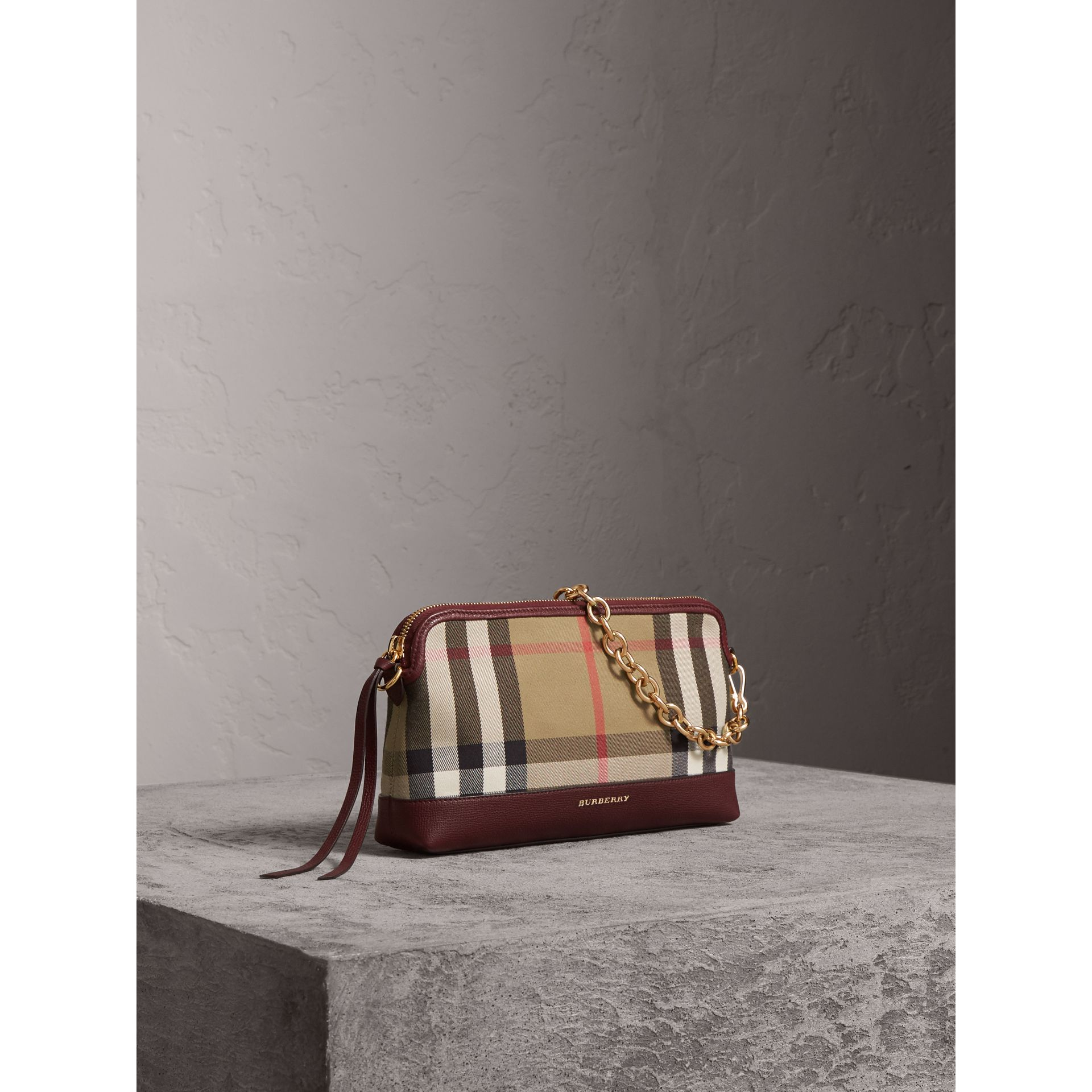 House Check and Leather Clutch Bag in Mahogany Red - Women | Burberry Canada - gallery image 8
