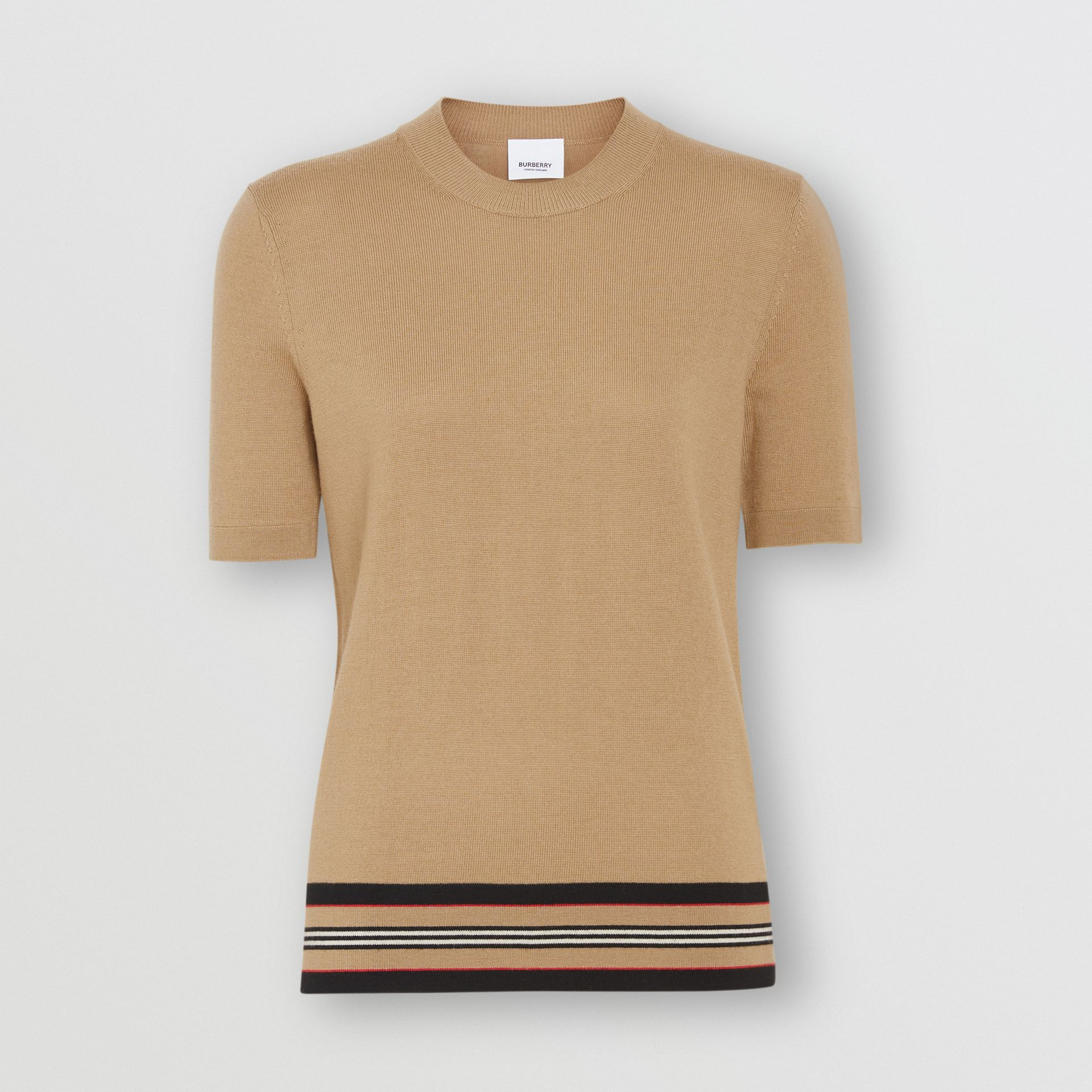 Short-sleeve Icon Stripe Detail Merino Wool Top in Camel - Women | Burberry - gallery image 0