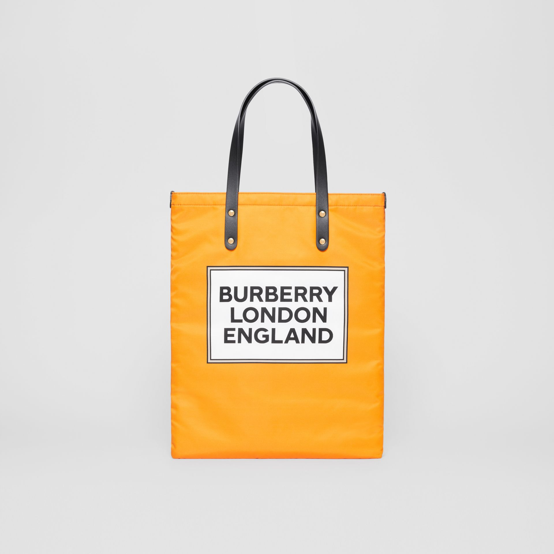 Logo Print Nylon Tote Bag in Orange | Burberry - gallery image 0