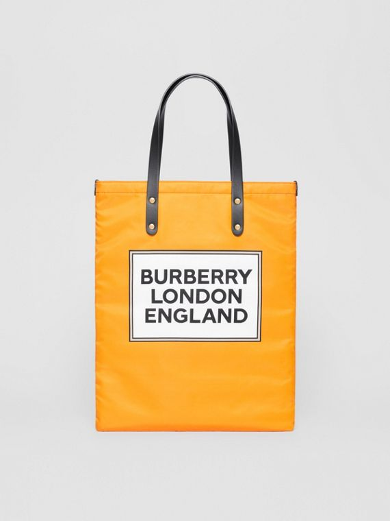 Logo Print Nylon Tote Bag in Orange