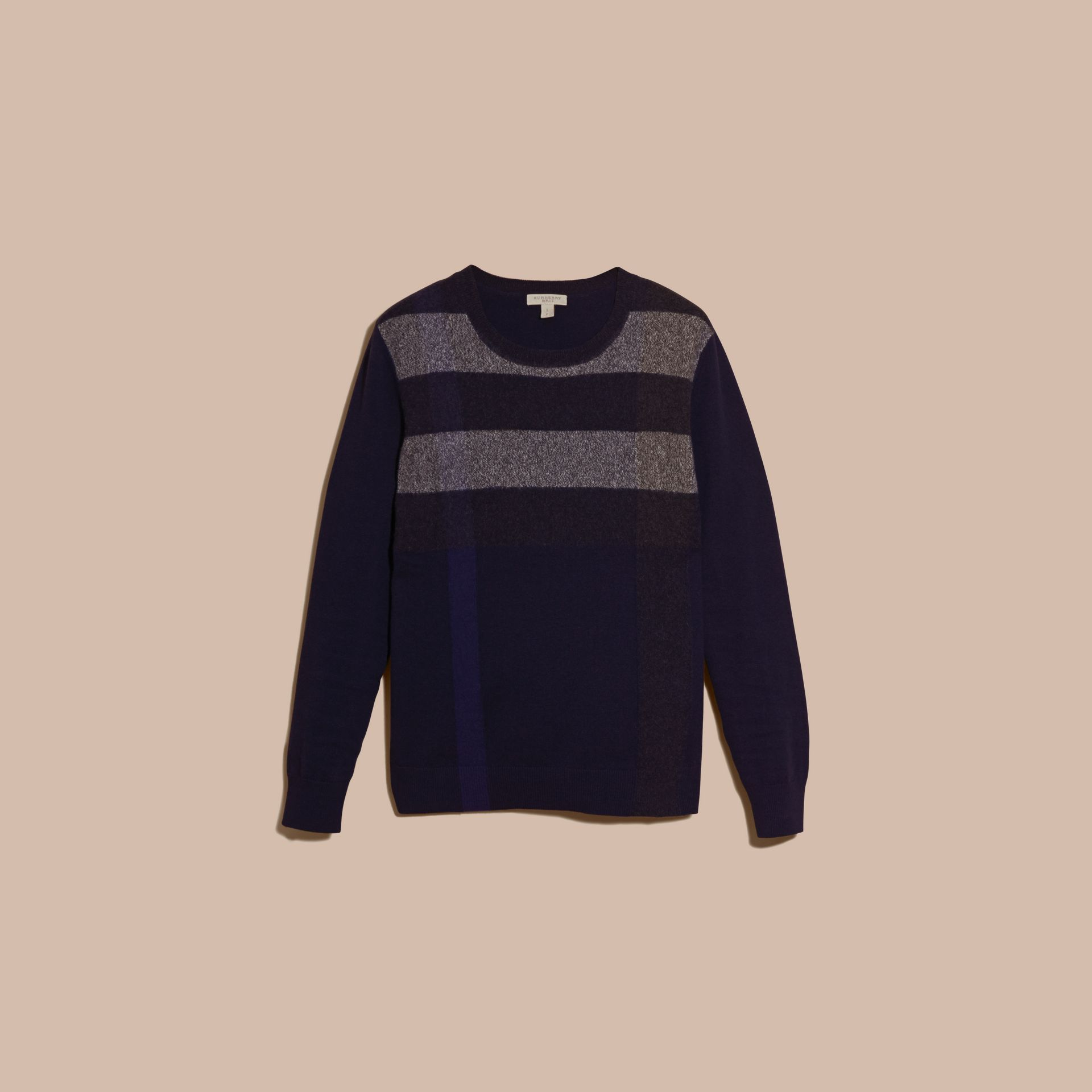 Navy Graphic Check Cashmere Cotton Sweater Navy - gallery image 4