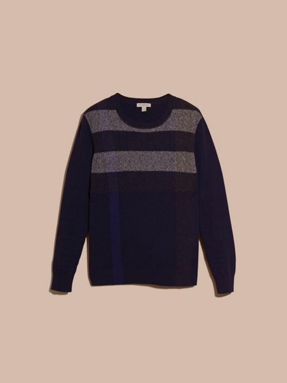 Graphic Check Cashmere Cotton Sweater Navy - cell image 3