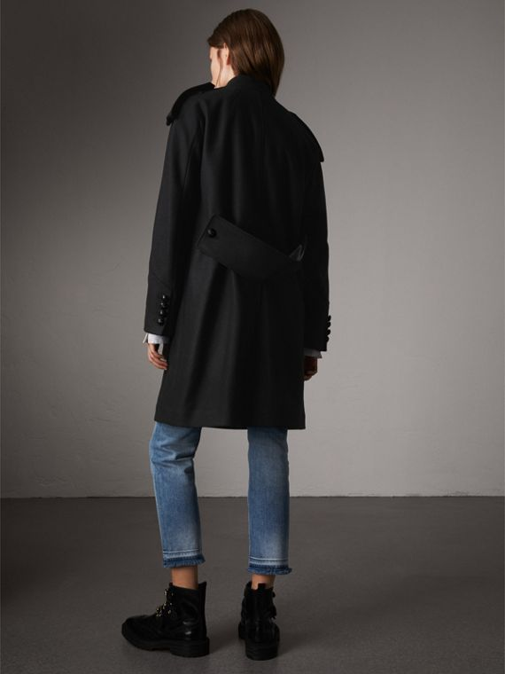 Collarless Wool Blend Coat in Black - Women | Burberry - cell image 2