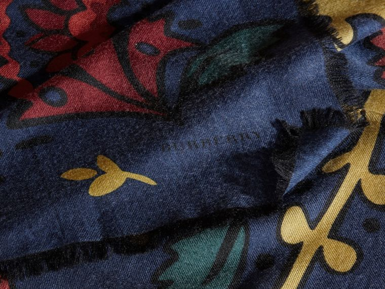 Navy Floral Print Cashmere Scarf - cell image 1