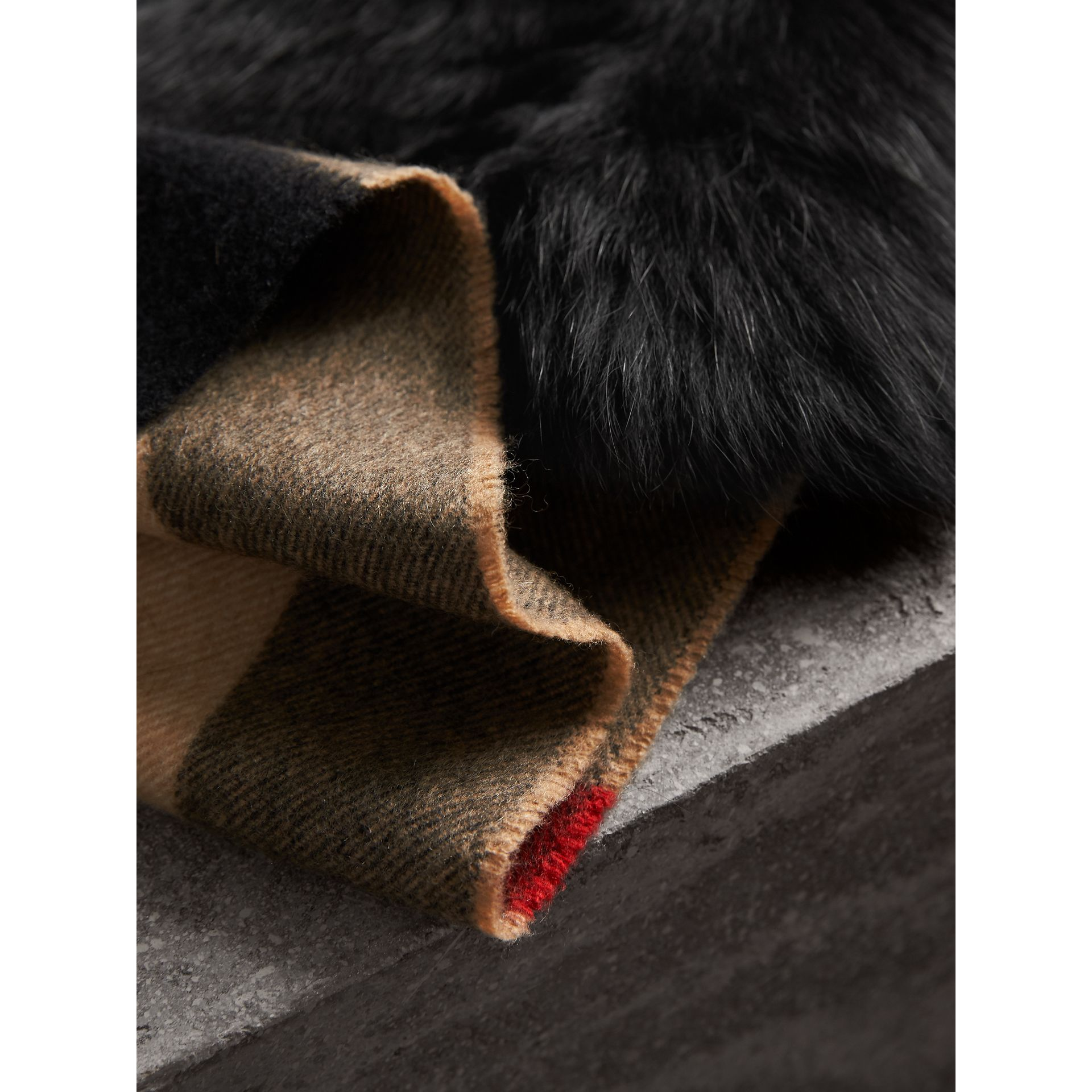 Fox Fur Trim Check Cashmere Scarf in Camel/black - Women | Burberry - gallery image 1