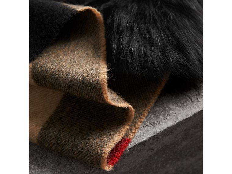 Fox Fur Trim Check Cashmere Scarf in Camel/black - Women | Burberry - cell image 1
