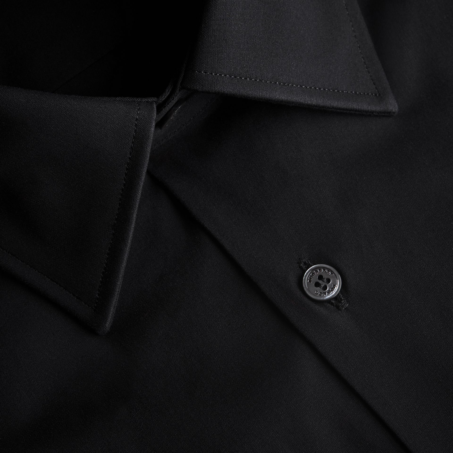 Modern Fit Stretch Cotton Shirt in Black - Men | Burberry - gallery image 2