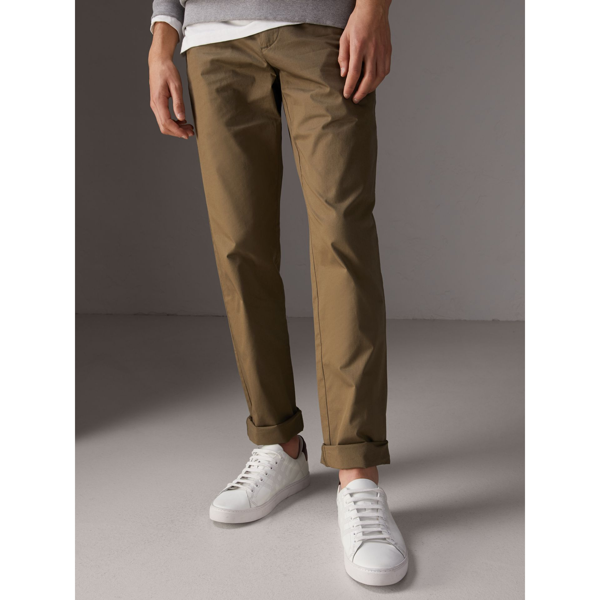 Slim Fit Cotton Chinos in Olive Green - Men | Burberry Singapore - gallery image 3