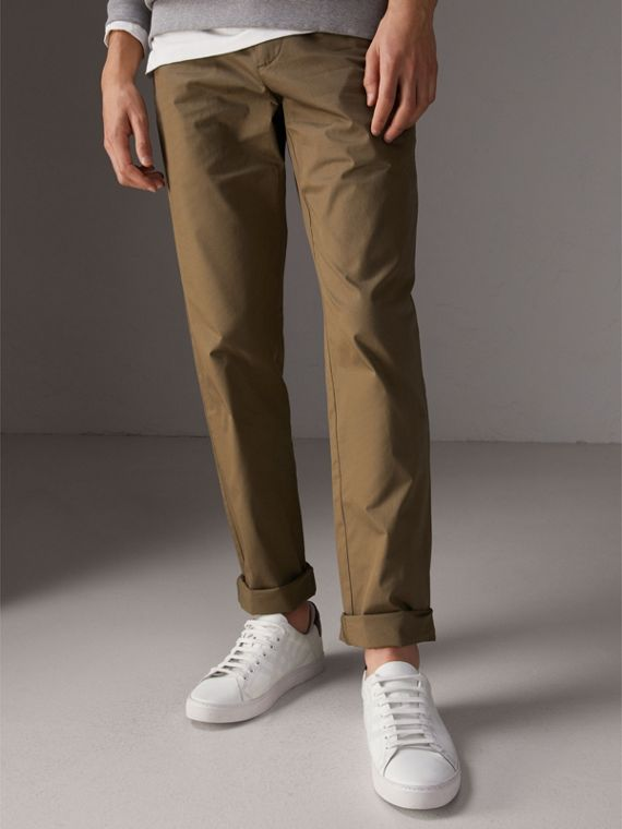 Slim Fit Cotton Chinos in Olive Green - Men | Burberry Singapore - cell image 3