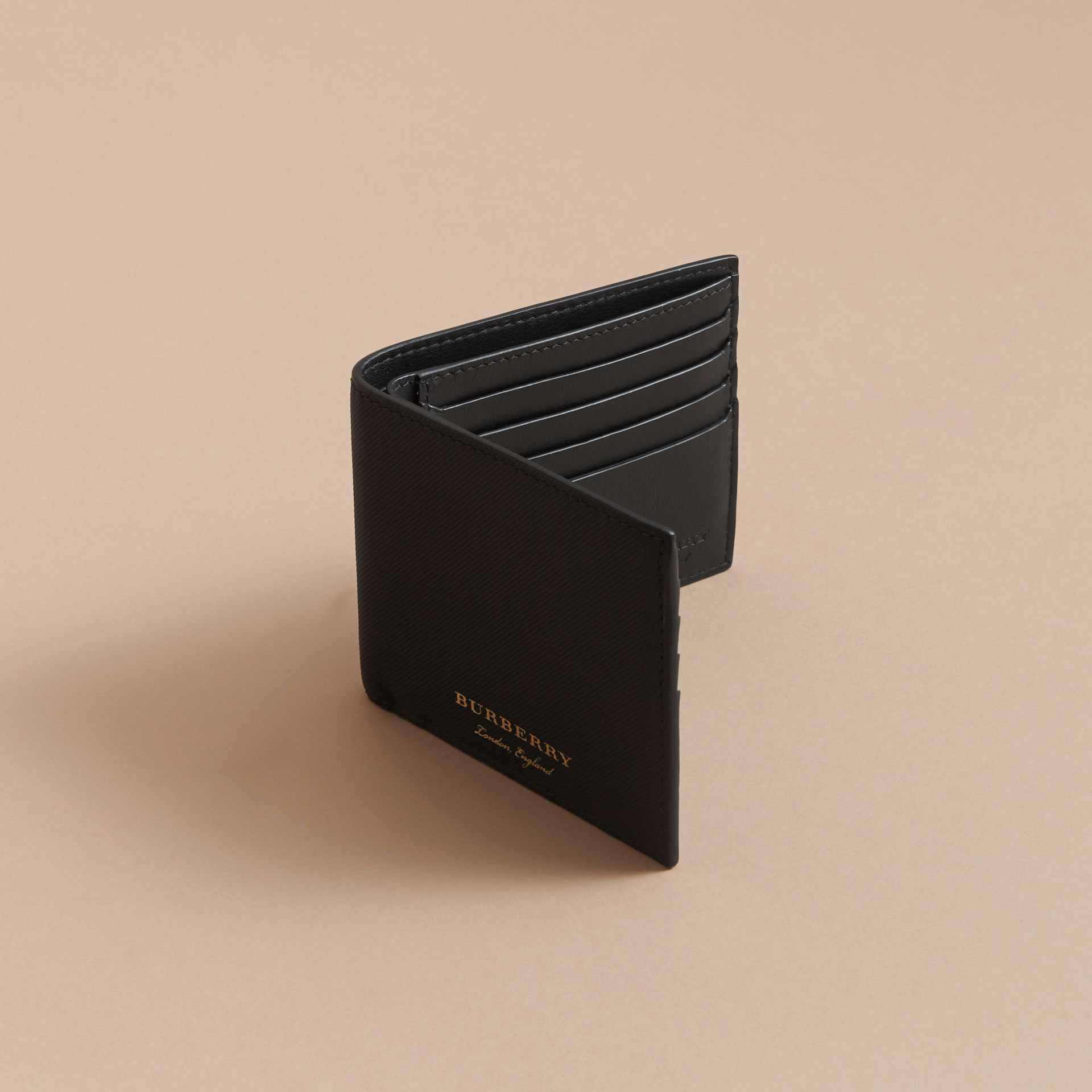 Trench Leather International Bifold Wallet in Black - Men | Burberry Australia - gallery image 5
