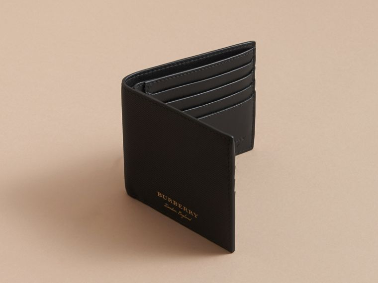 Trench Leather International Bifold Wallet in Black - Men | Burberry Australia - cell image 4