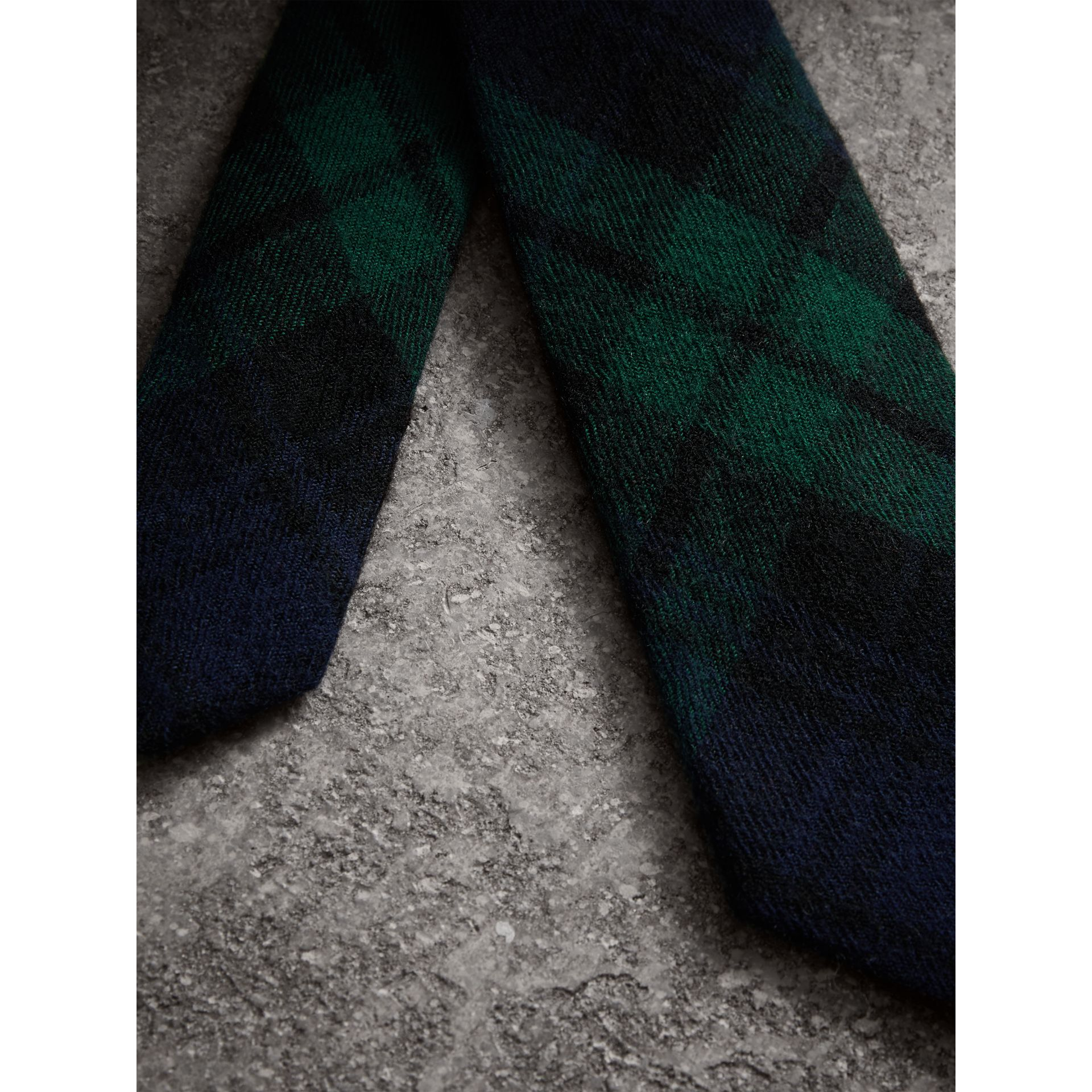 Slim Cut Tartan Wool Flannel Tie in Navy - Men | Burberry - gallery image 1