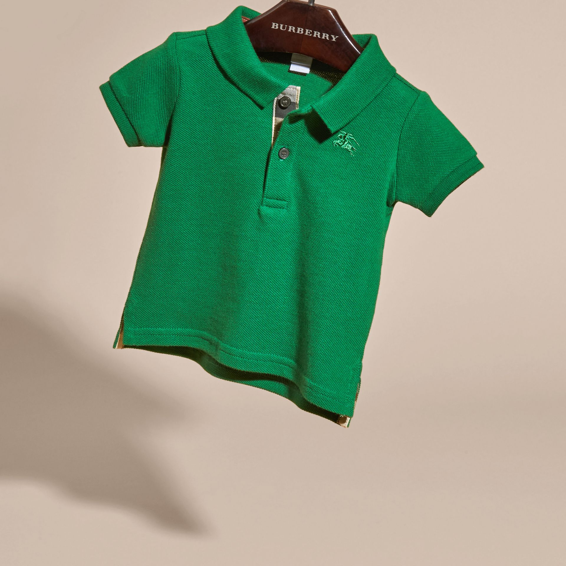 Bright pigment green Cotton Piqué Polo Shirt Bright Pigment Green - gallery image 3