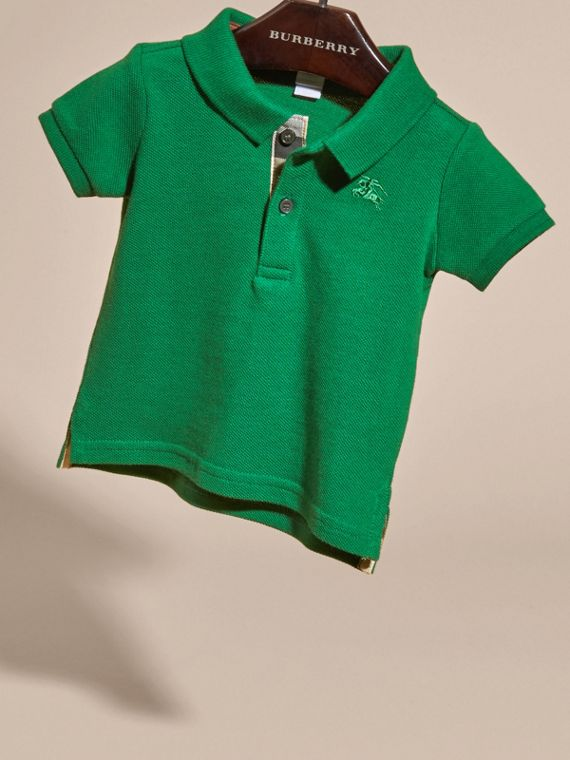 Bright pigment green Cotton Piqué Polo Shirt Bright Pigment Green - cell image 2