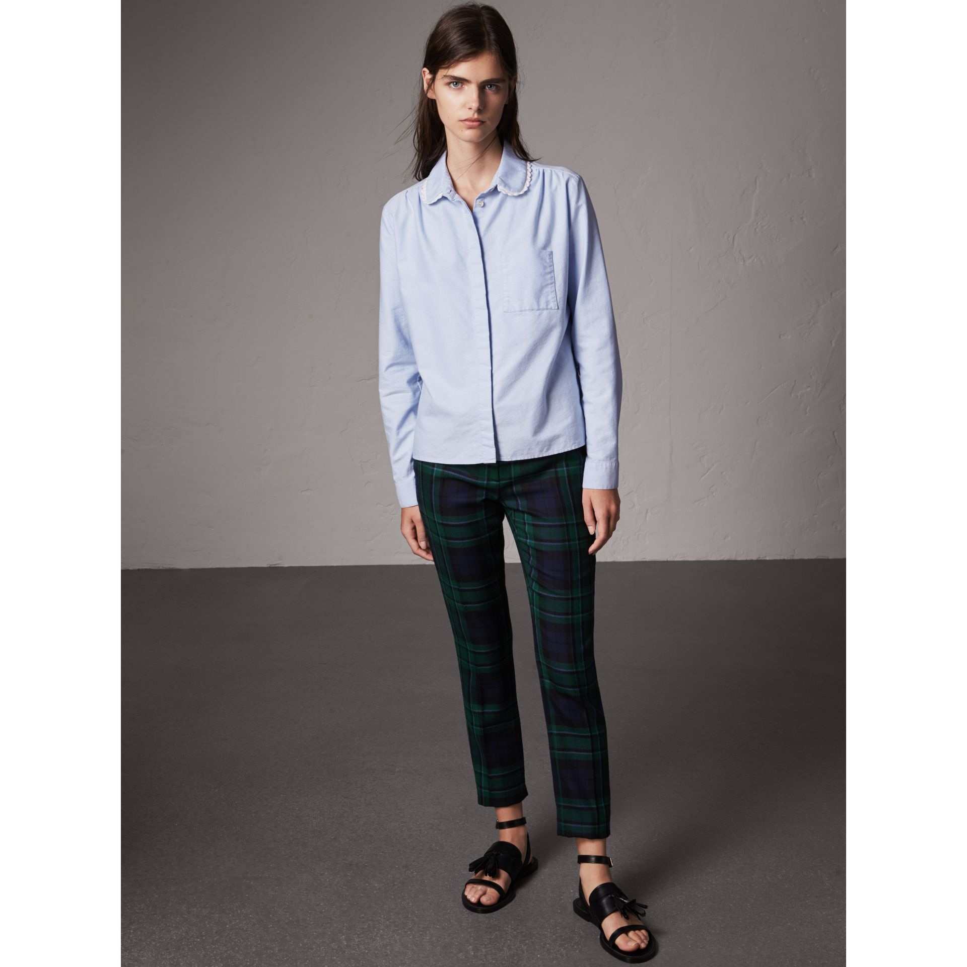 Lace-trimmed Round Collar Cotton Shirt in Cornflower Blue - Women | Burberry - gallery image 4