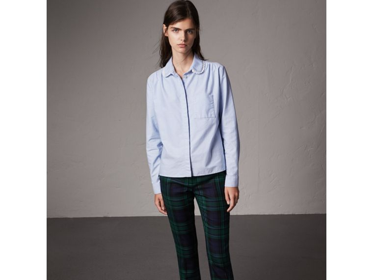 Lace-trimmed Round Collar Cotton Shirt in Cornflower Blue - Women | Burberry - cell image 4