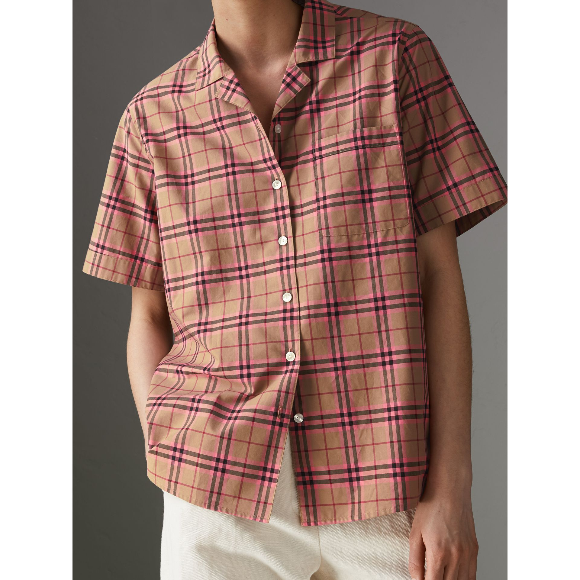 Check Cotton Short-sleeved Shirt in Pomegranate Pink - Women | Burberry United Kingdom - gallery image 1