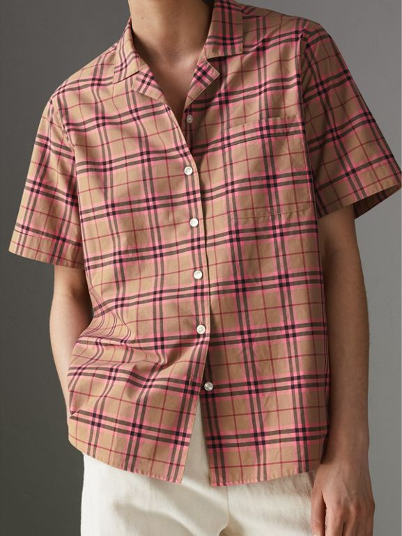 Check Cotton Short-sleeved Shirt in Pomegranate Pink - Women | Burberry United Kingdom - cell image 1