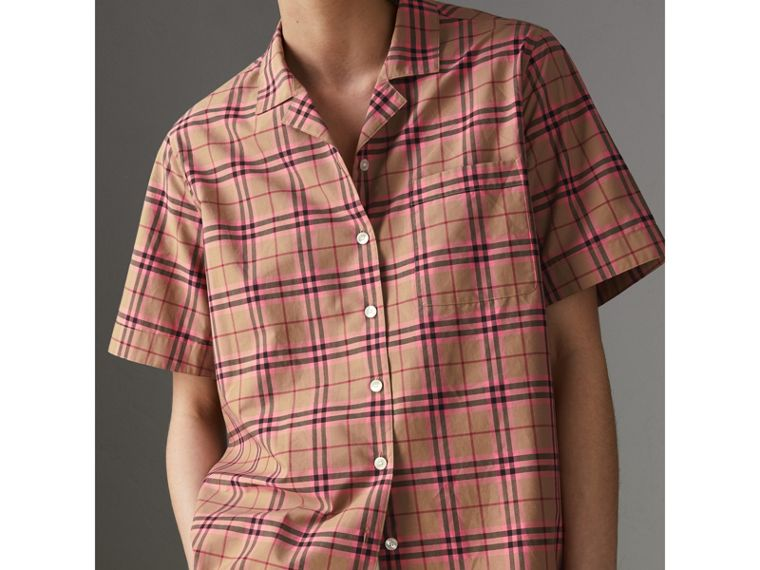 Check Cotton Short-sleeved Shirt in Pomegranate Pink - Women | Burberry United States - cell image 1