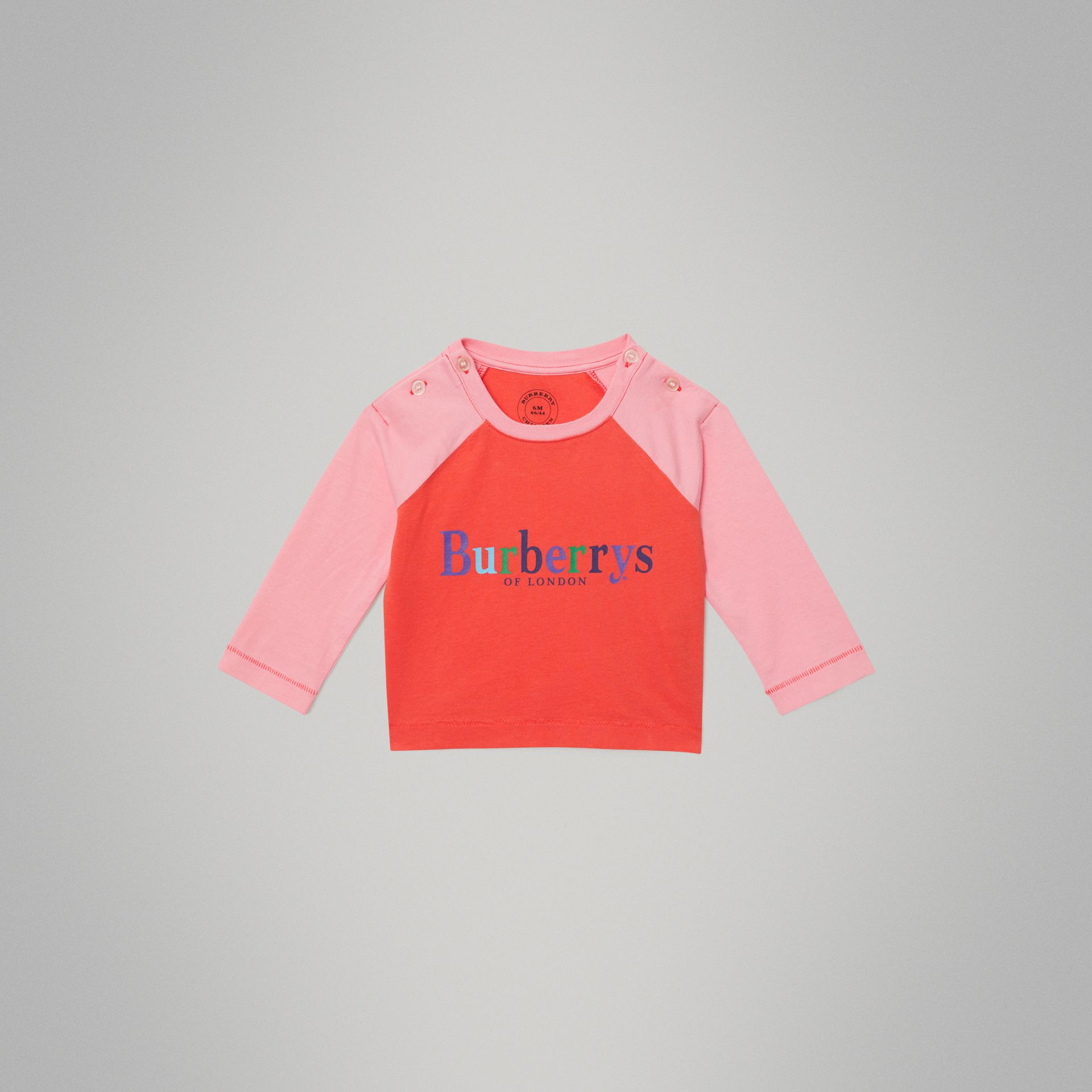 Archive Logo Print Two-tone Cotton Top in Military Red - Children | Burberry United Kingdom - gallery image 0