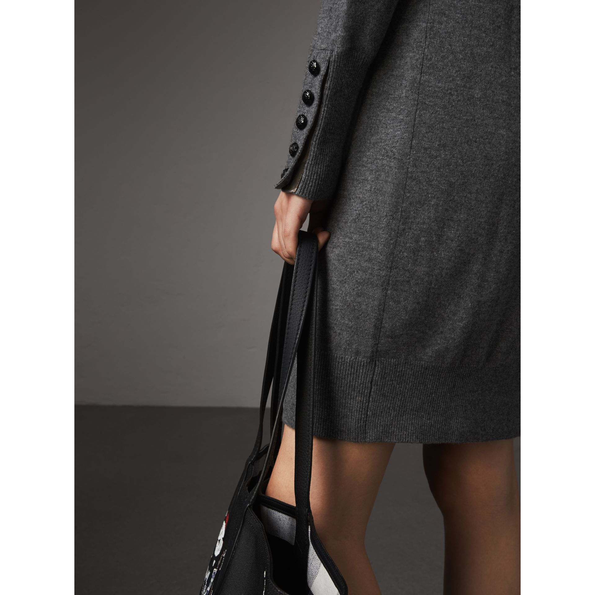 Knitted Wool Cashmere Sweater Dress in Mid Grey Melange - Women | Burberry - gallery image 2